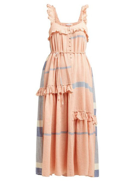 Apiece Apart - Lypie Tiered Ruffle Striped Cotton Maxi Dress - Womens - Red