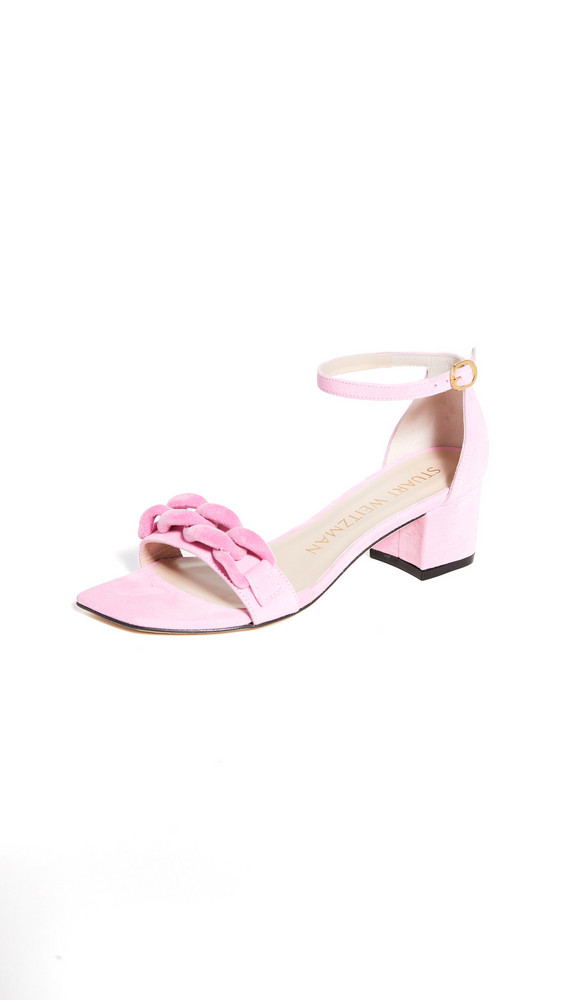 Stuart Weitzman 50mm Amelina Block Chain Sandals in pink