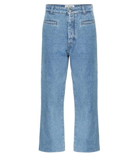 Loewe Cropped high-rise wide-leg jeans in blue
