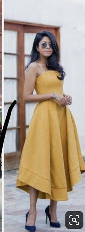 dress,marigold,yellow dress,strapless,a line dress,midi dress