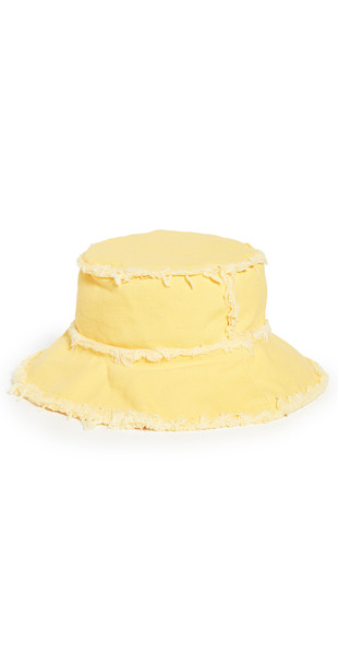 Jocelyn Cotton Canvas Bucket Hat with Frayed Edges in yellow