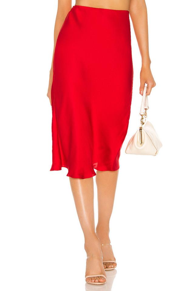 Bardot Mayah Bias Midi Skirt in red