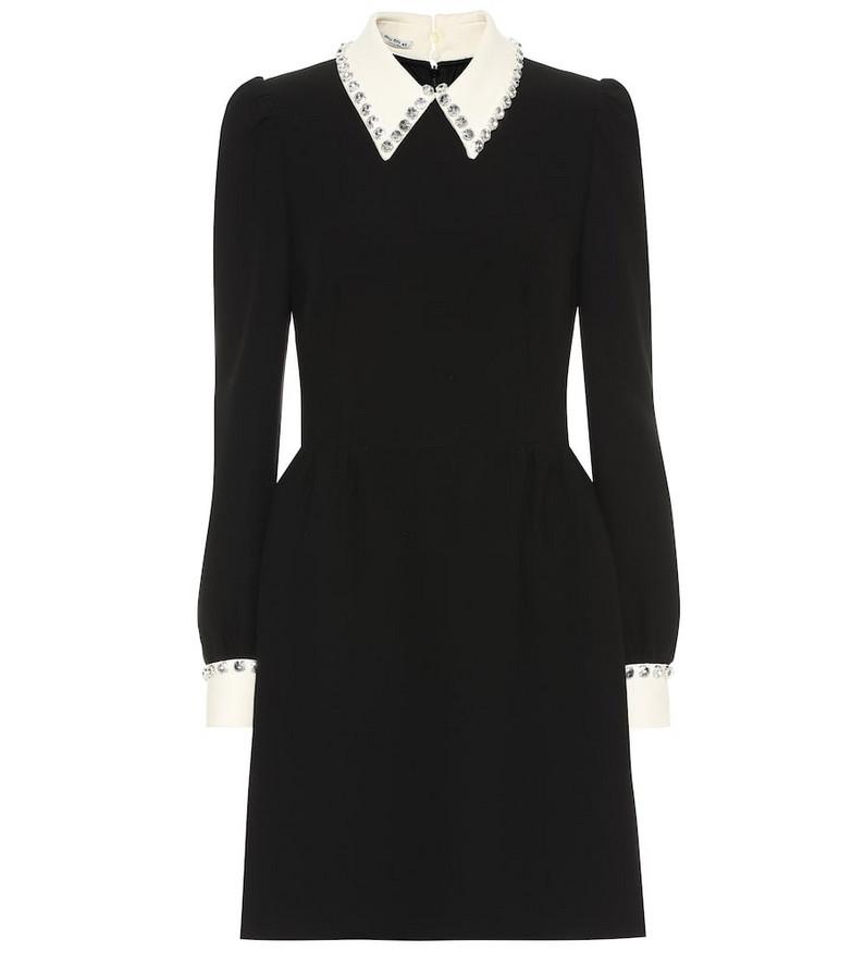 Miu Miu Embellished cady minidress in black