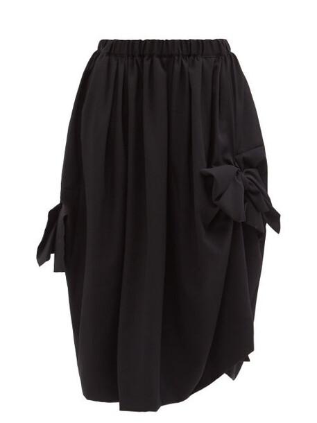 Comme Des Garçons Comme Des Garçons - Bow-tied Wool Midi Skirt - Womens - Black