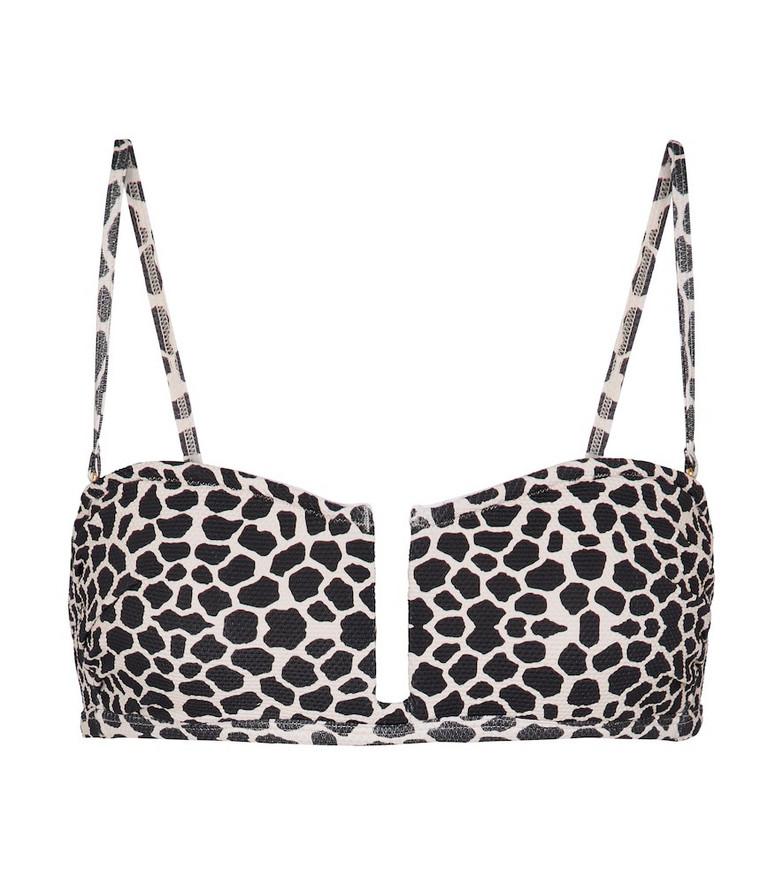 Alexandra Miro Jenna giraffe-print bikini top in black