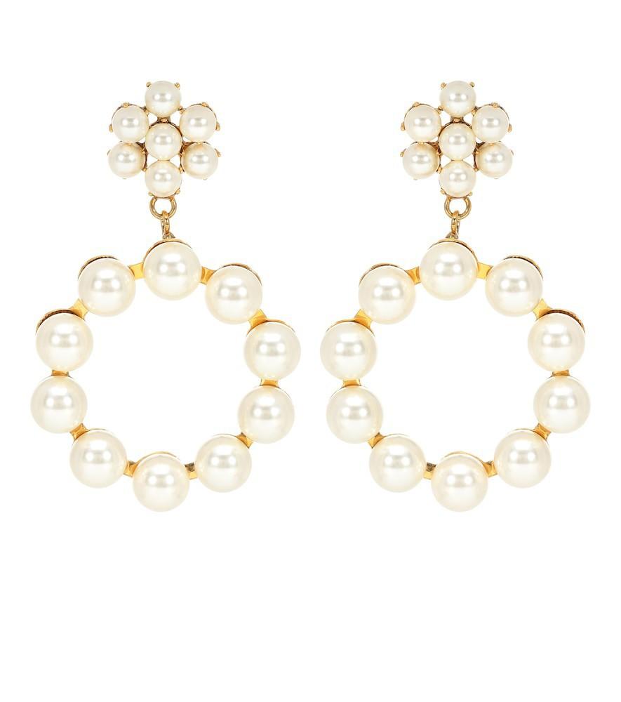 Jennifer Behr Leilani peal-encrusted earrings in gold