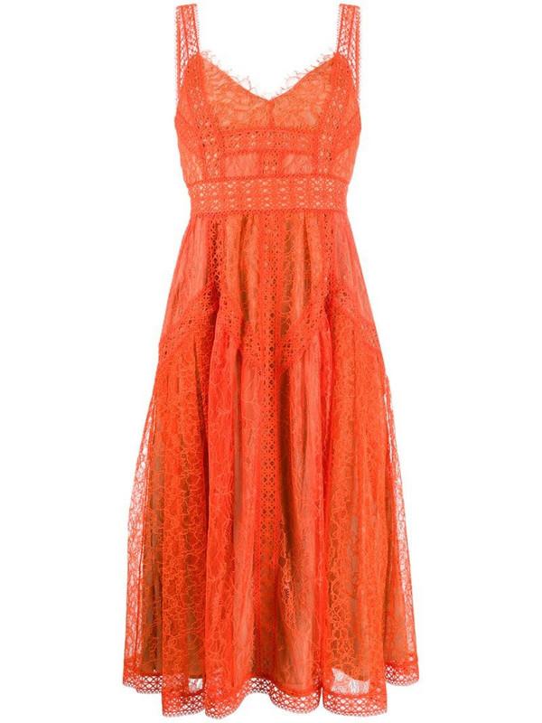 Self-Portrait flared lace midi dress in orange