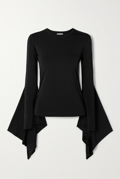 Burberry - Draped Stretch-jersey Top - Black
