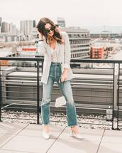 jacket,blazer,h&m,ripped jeans,cropped jeans,high waisted jeans,pumps,white bag,lace bodysuit