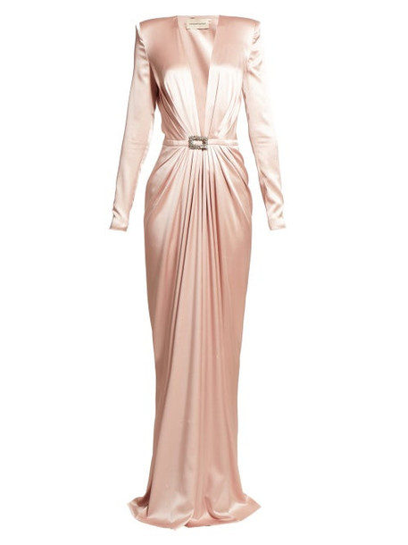 Alexandre Vauthier - Crystal Buckle Satin Gown - Womens - Light Pink