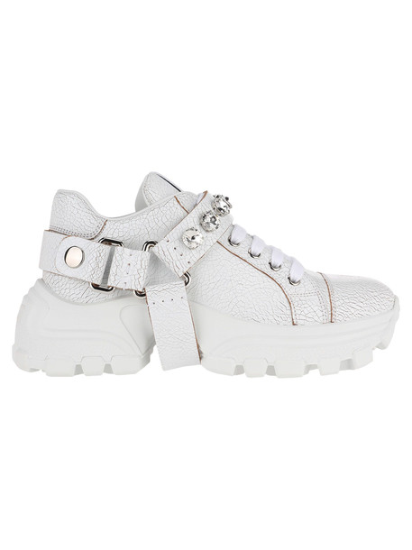 Miu Miu Low Top Sneakers With Cristals Embellishment in white