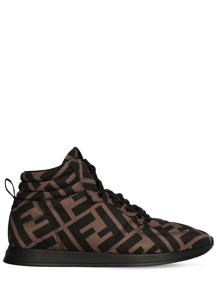 FENDI 20mm Nylon High Top Sneakers in brown