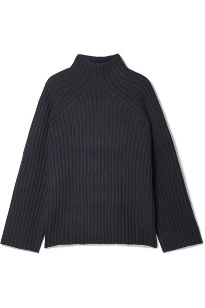 By Malene Birger - Peach Oversized Ribbed Wool-blend Turtleneck Sweater - Navy