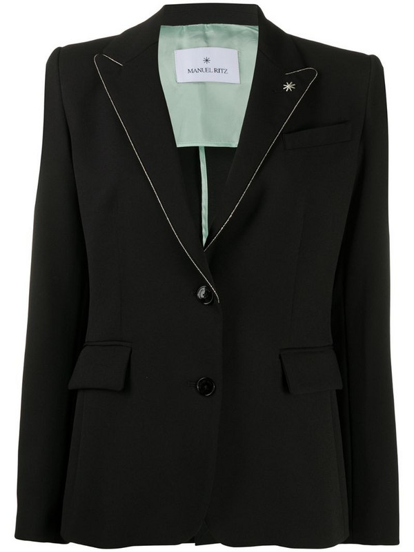 Manuel Ritz metallic trim blazer in black