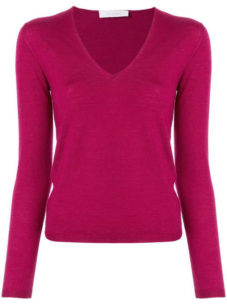 Cruciani long-sleeve fitted top in purple