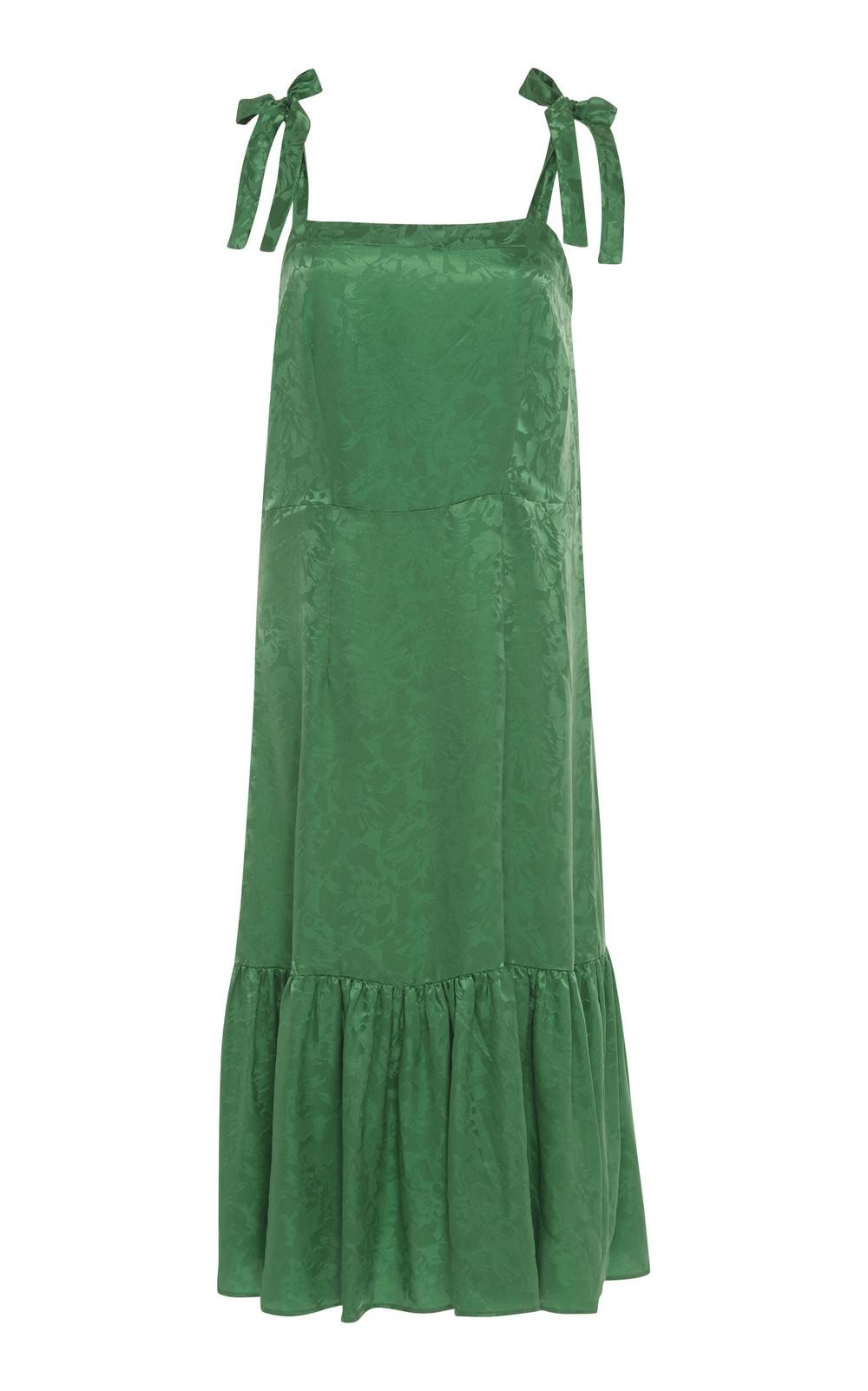 Warm Centre Jacquard Shoulder-Tie Dress in green