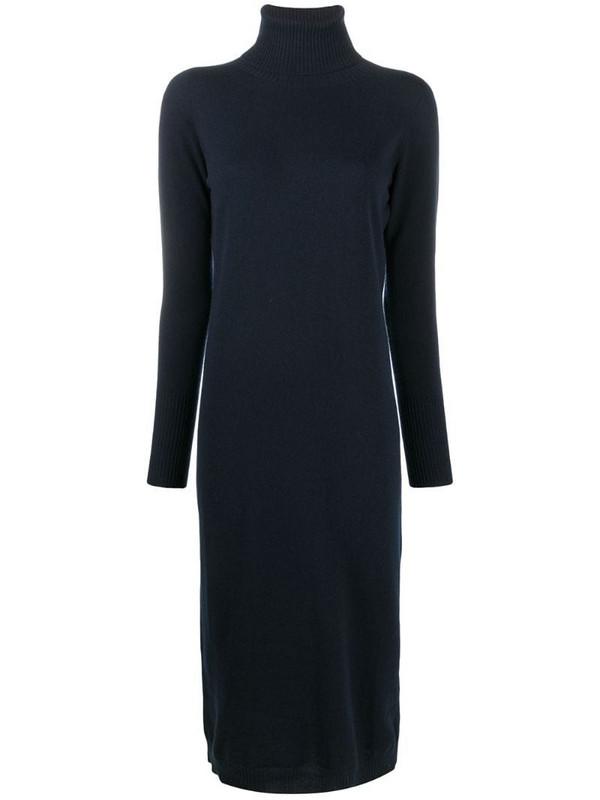 Gentry Portofino fine knit roll neck dress in blue