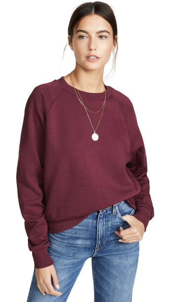 Hanes x Karla The Raglan Crew Sweatshirt in burgundy
