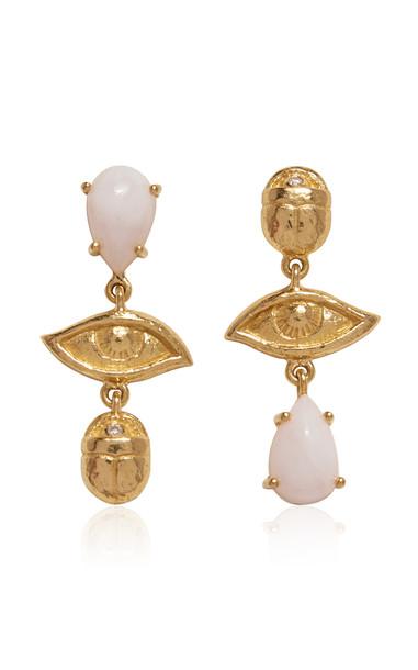 Pamela Love Teardrop Pink Opal and 14K Gold-Plated Earrings