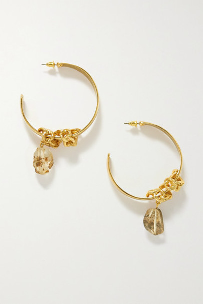 Oscar de la Renta - Gold-tone Quartz Hoop Earrings