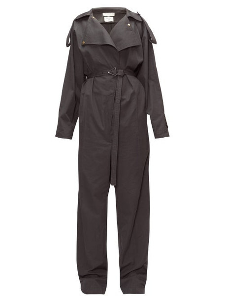Bottega Veneta - Belted Canvas Wide-leg Trench Jumpsuit - Womens - Black