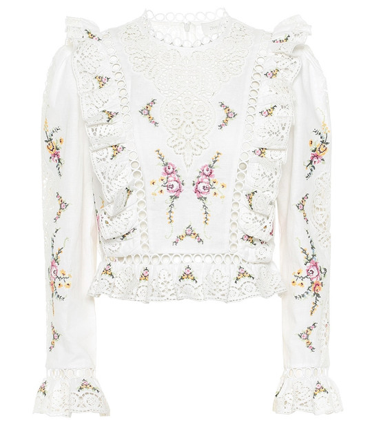 Zimmermann Allia floral cotton and linen top in white