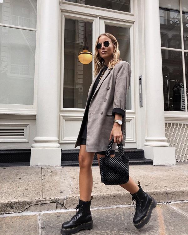 jacket plaid blazer double breasted black boots black bag black shorts black blouse
