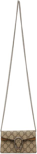 Gucci Beige Super Mini GG Supreme Dionysus Bag in taupe