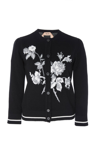 N°21 Clarissa Wool Embroidered Cardigan in black