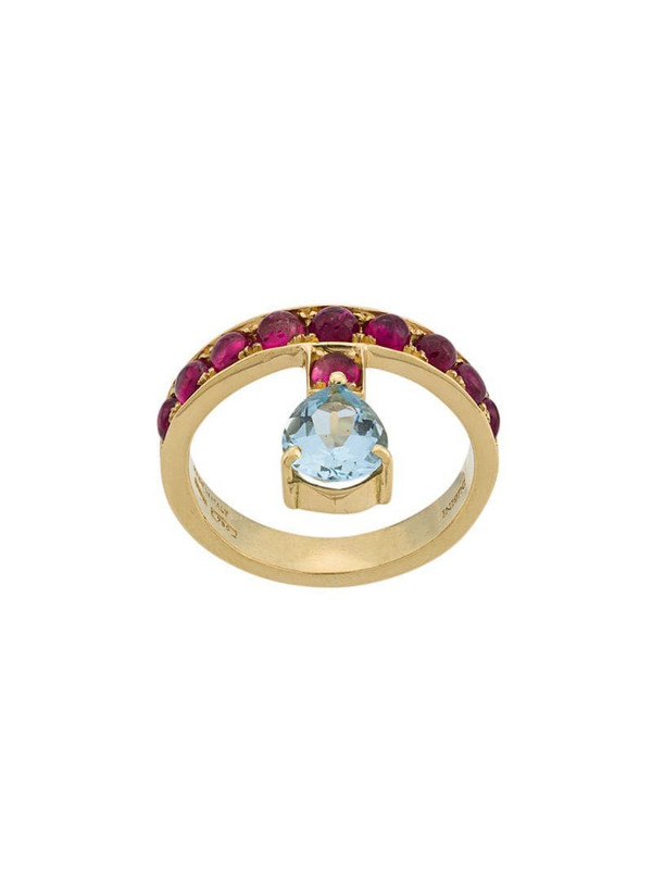Dubini 18kt yellow gold, aquamarine and rubellite Theodora ring