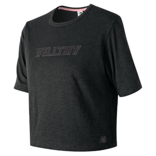 New Balance 91467 Women's Well Being Cropped Tee - Black (WT91467BK)