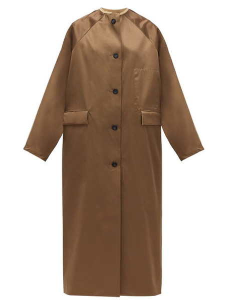 Kassl Editions - Reversible Single-breasted Satin Coat - Womens - Brown Multi