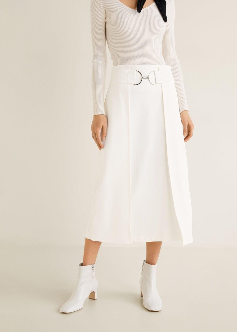 Belt midi skirt - Women | Mango United Kingdom