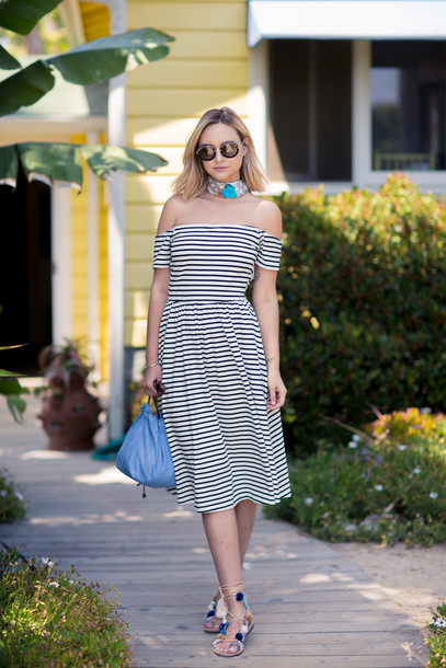 late afternoon blogger shoes sunglasses scarf jewels off the shoulder striped dress round sunglasses