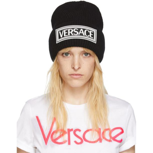Versace Black Logo Beanie