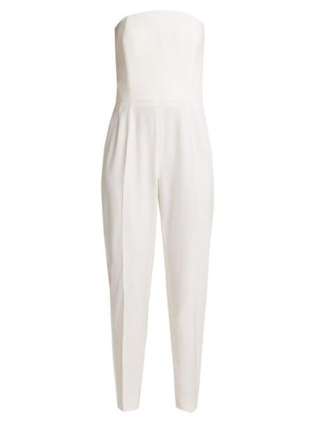Pallas X Claire Thomson-jonville - Divine Satin Trimmed Wool Crepe Jumpsuit - Womens - Ivory