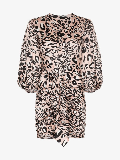 Alexandre Vauthier Leopard print silk gathered dress