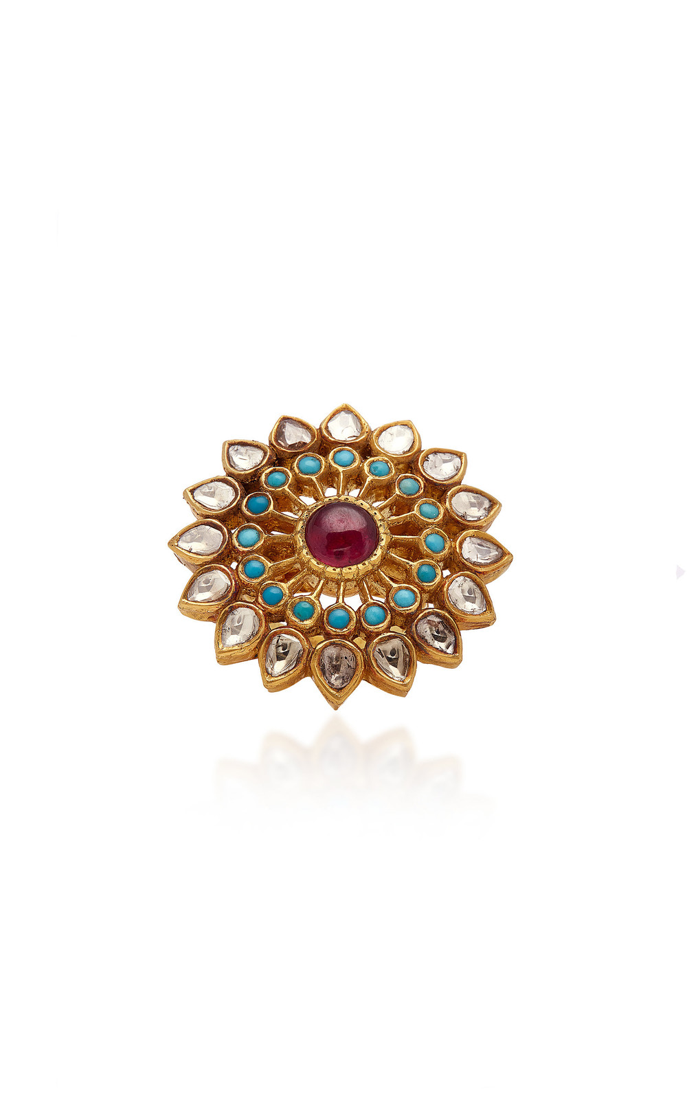Amrapali 18K Gold Diamond Ruby And Turquoise Ring in multi