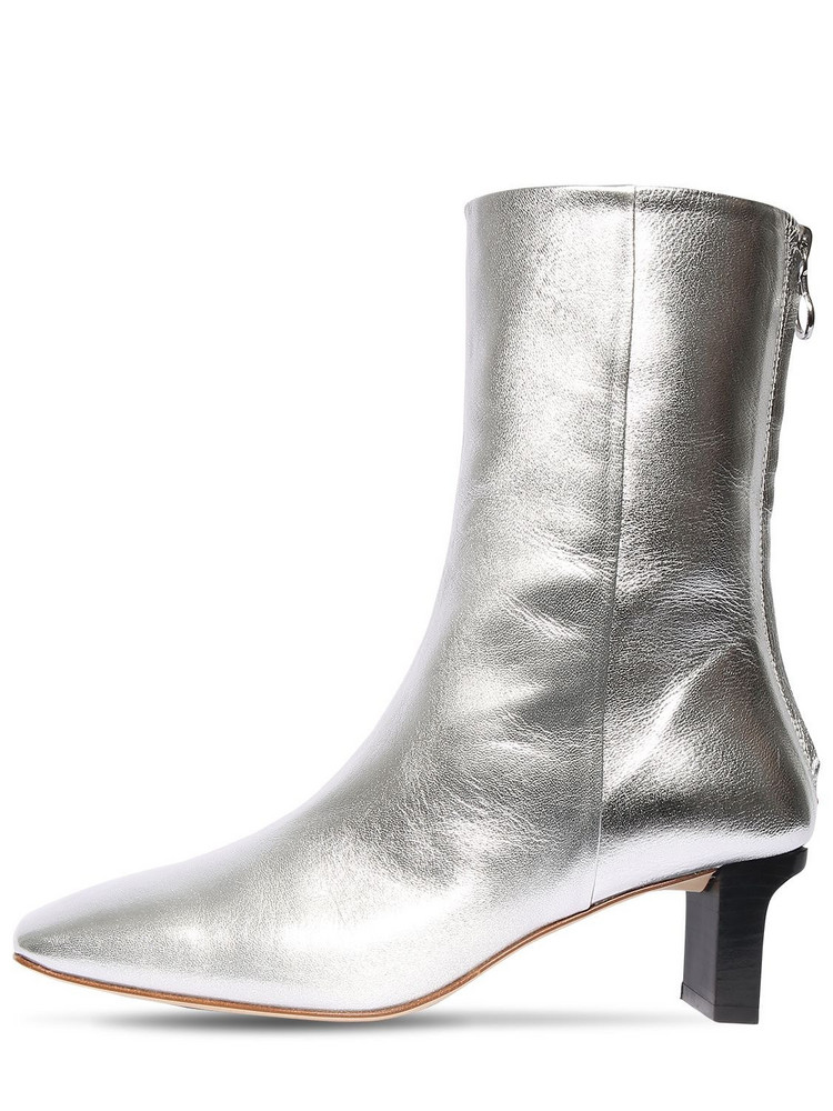 AEYDE 55mm Tilly Metallic Leather Ankle Boots in silver