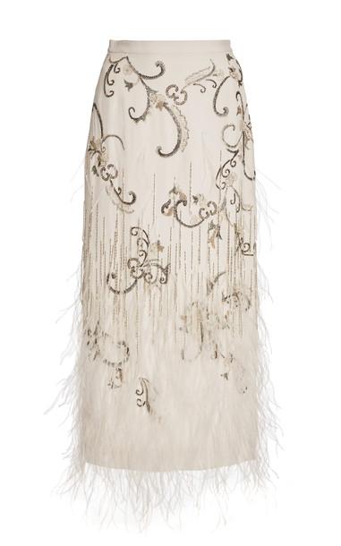 Burnett New York Embroidered Feathered Pencil Skirt in white