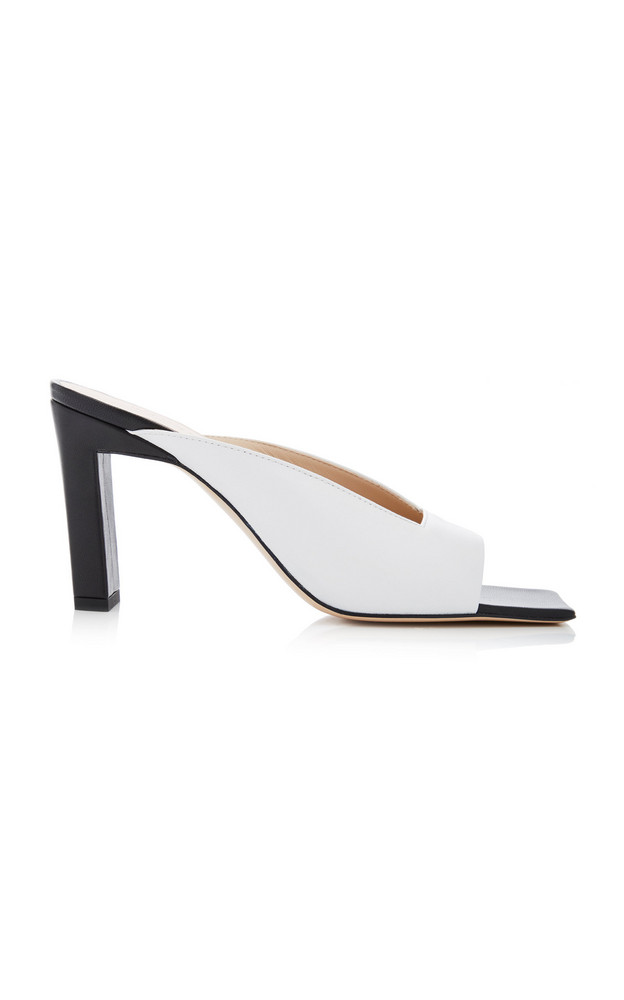 Wandler Isa Two-Tone Leather Mules in black