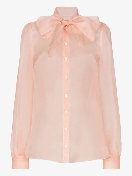 Dolce & Gabbana pussy bow silk organza blouse in pink