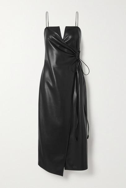 NANUSHKA - Anubi Vegan Leather Midi Wrap Dress - Black