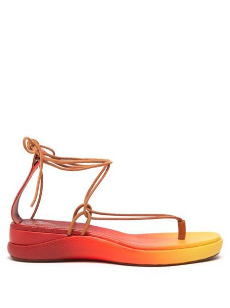 Chloé Chloé - Degradé Leather Sandals - Womens - Red Multi