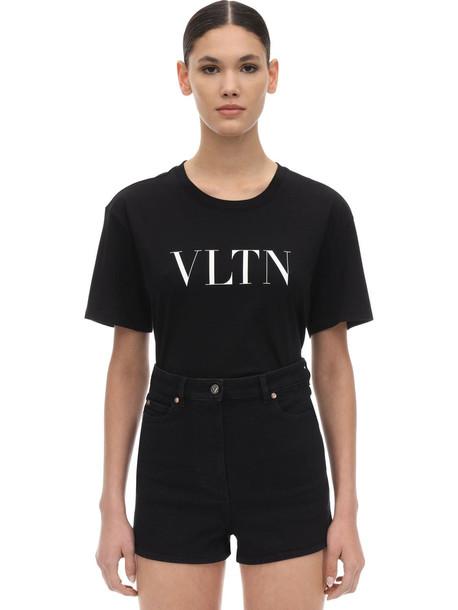 VALENTINO Vltn Logo Printed Cotton Jersey T-shirt in black / white