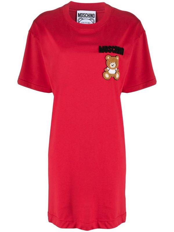 Moschino logo T-shirt dress in red