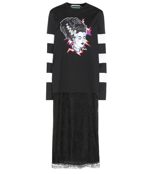 Prada Printed cotton T-shirt dress in black