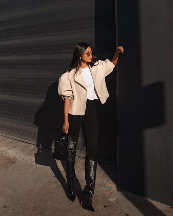 shoes black boots black pants knee high boots black bag white t-shirt cropped jacket