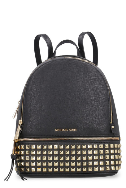 Michael Kors Rhea Studded Leather Backpack in black