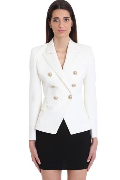 Balmain Double-breasted White Wool Blazer